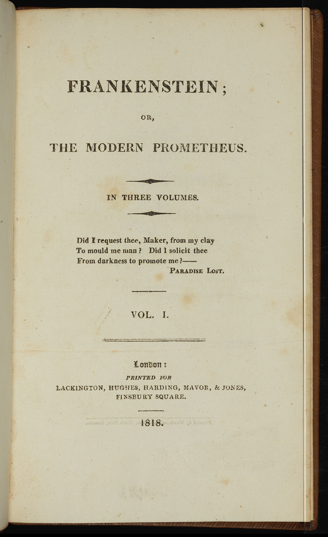Title page of first edition of Frankenstein, Volume I, 1818.