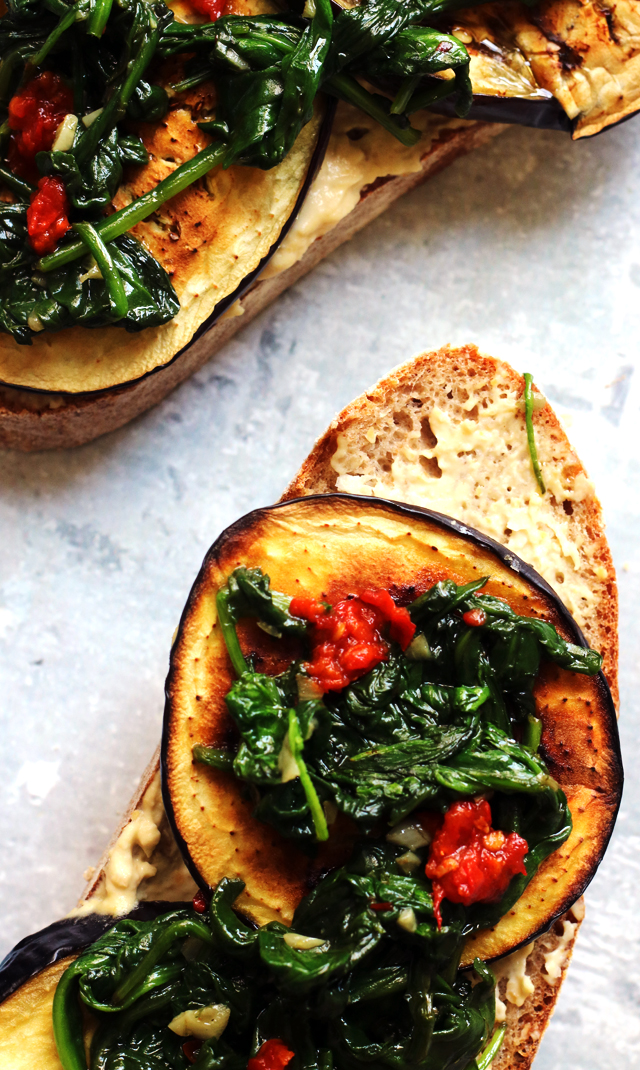 Roasted Eggplant and Hummus Tartines with Harissa and Garlicky Spinach