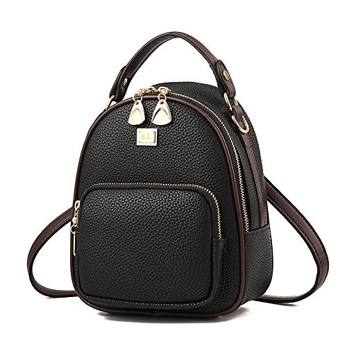 Gashen Women's Mini PU Leather Backpack Purse Casual Drawstring Daypack Convertible Shoulder Bag (black) Review