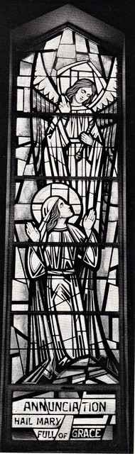Stained Glass window of the Annunciation of Mary full of Grace