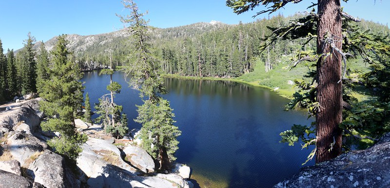 We get our first view of Rubicon Lake from the Tahoe-Yosemite Trail