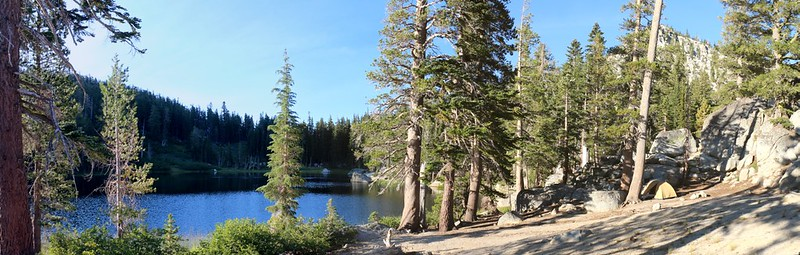 Panorama view of our campsite on the northern shore of Rubicon Lake - a great place to camp!