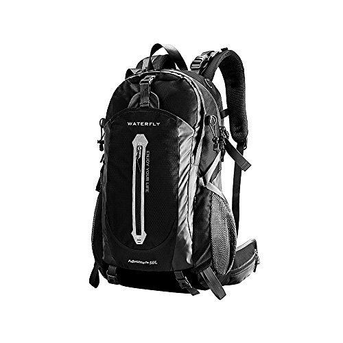 WATERFLY Professional Outdoor Sport Climbing Mountaineering Backpack Shoulder Bag Camping Hiking Rucksack Daypack with Waterproof Cover For Biking Cycling Traveling Camping Climbing (Black, 50 Liter)