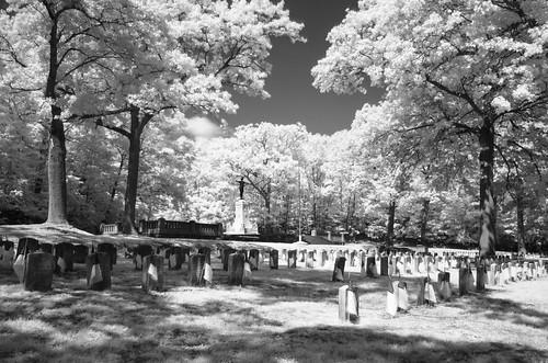 bw ir graveyard tripod blackandwhite monochrome r72 cemetery oakgrovecemetery medford warmemorial trees