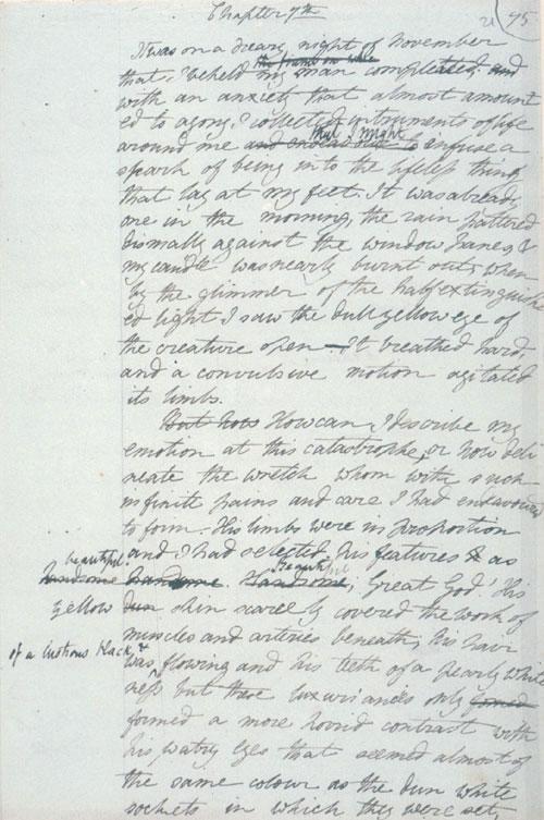 Draft of Frankenstein (