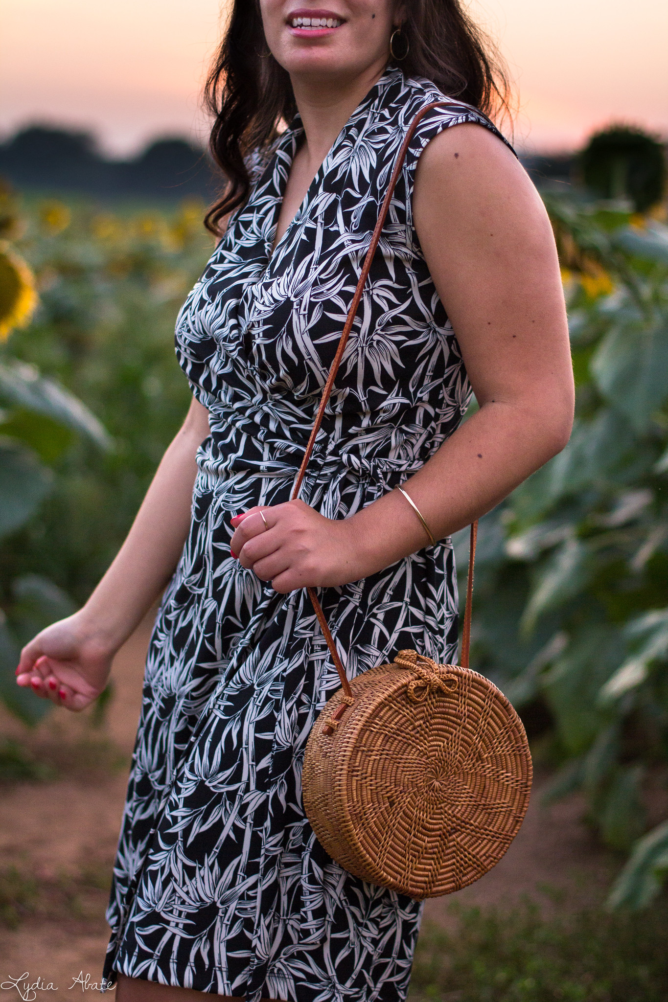 bamboo print wrap dress, woven black mule sandals, round rattan bag, sunflower field-3.jpg