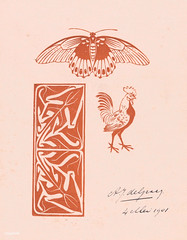Butterfly, rooster and leaf ornament (1901) by Julie de Graag (1877-1924). Original from the Rijks Museum. Digitally enhanced by rawpixel.