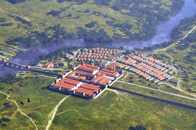 A reconstruction of the fort and civilian settlement at Chesters as they may have appeared in about AD 200, Hadrian's Wall