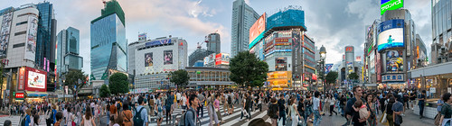 World's busiest pedestrian crossing - Large panorama of the Shibuya Crossing