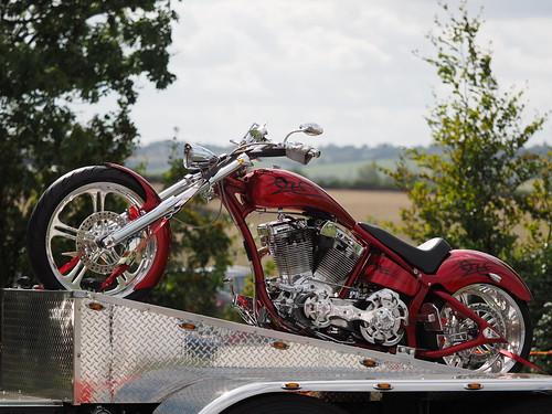 Custom motorcycle on Kenworth