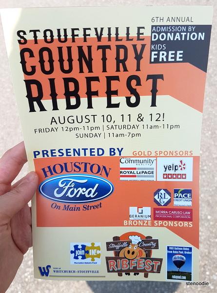 Stouffville County Ribfest pamphlet