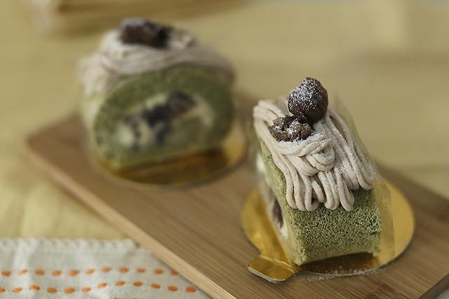 mont blanc azuki matcha roll cake