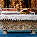 Roman sarcophagus (3rd century AD) as altar - San Giacomo in Augusta Church in Rome - https://www.flickr.com/people/70125105@N06/