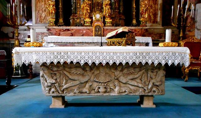 Roman sarcophagus (3rd century AD) as altar - San Giacomo in Augusta Church in Rome