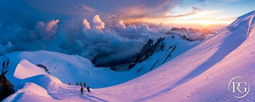 """""""Aurore orageuse aux Petites Bosses"""". Mont-Blanc, France."""