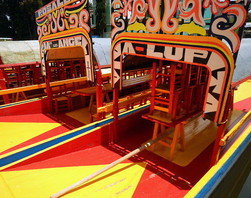 Bright boats at Xochimilco, the UNESCO Heritage Site of the former floating gardens in Mexico City