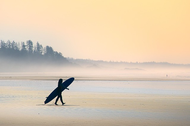 Surfer in the haze