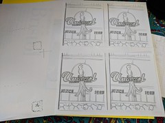 inked Universal Panaderia drawing shrunk and laid out for postcards