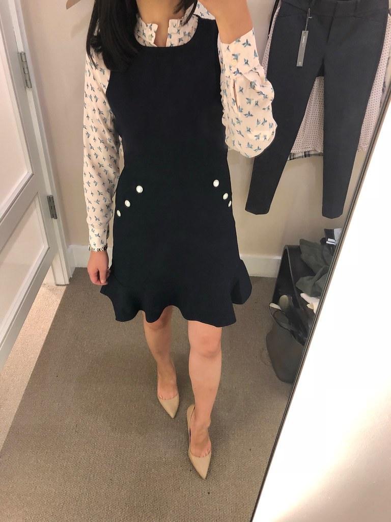 LOFT Button Pocket Flounce Dress, size 0P