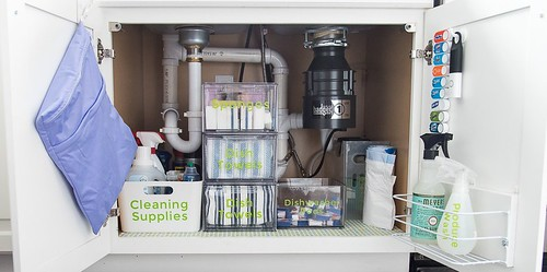 how to organize cleaning supplies under the sink in a kitchen