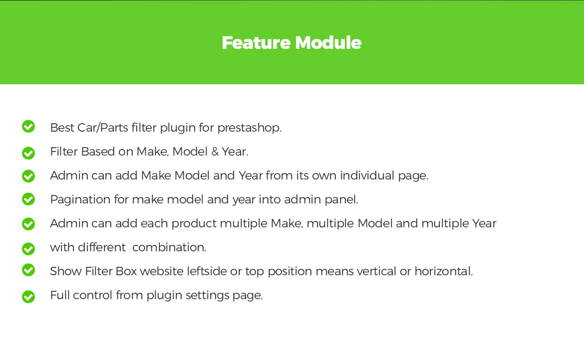 Leo Parts Filter Prestashop module features