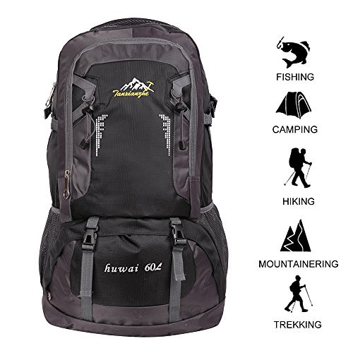 60 L Waterproof Ultra Lightweight Packable Climbing Fishing Backpack Hiking Daypack,Internal Frame Backpack,Handy Foldable Camping Outdoor Backpack Bag with a Rain Cover (Black, 60L)