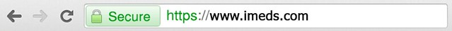 A browser address bar containing the iMeds domain name