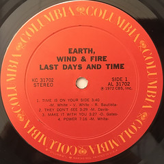 EARTH, WIND & FIRE:LAST DAYS AND TIME(LABEL SIDE-A)