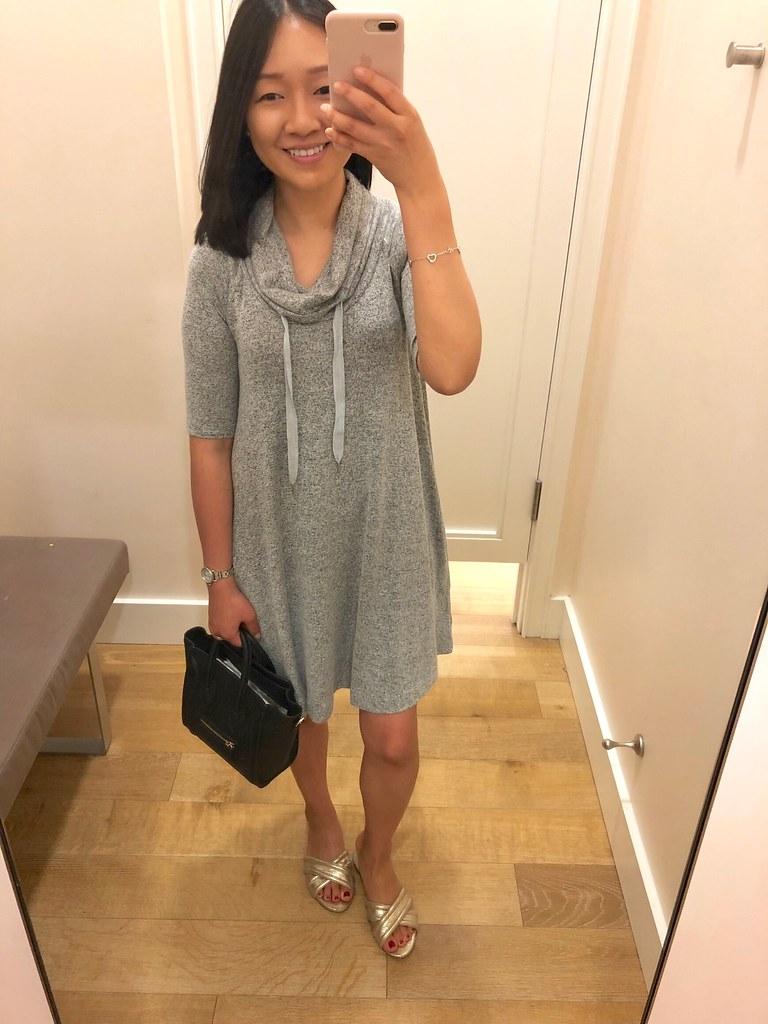 Lou & Grey Drawstring Cowl Dress, size XXS regular