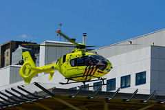 Air Ambulance taking off from heliplatform at an hostpital in Rotterdam