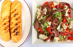 TOMATO, GORGONZOLA, ANCHOVIES AND ONION SALAD IN WHITE BALSAMIC VINAIGRETTE (ENSALADA ALLA VIA CANDIA)