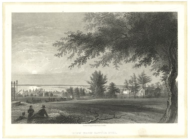 A view from Battle Hill - the highest point in King's County - looking west toward Upper New York Harbor and New Jersey beyond.. Here on Lord Stirling's left flank about 300 Americans under Colonel Atlee and General Parsons repulsed successive attacks by the British after taking the hill, and inflicted the highest casualties against the British during the Battle of Long Island.