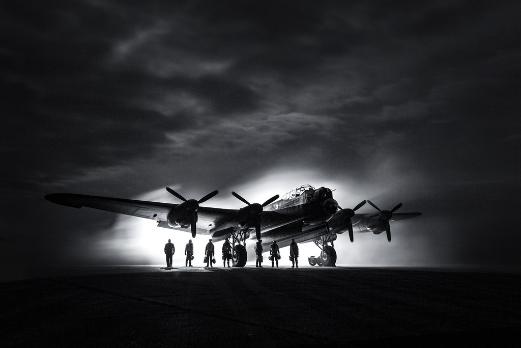 This image, by Cpl Laurence of the Photo ACSSU, Royal Air Force Halton, was taken at East Kirkby Aviation Museum in Lincolnshire. The Lancaster 'Just Jane' and a group of reenactors re-created a wintery night scene.