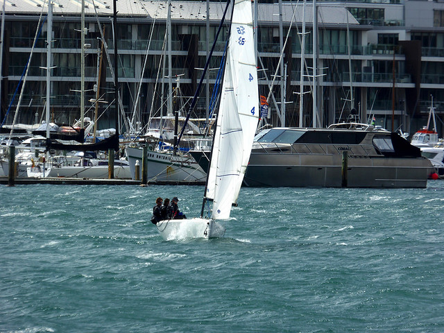 yachting on Wellingtons Harbour can be an exciting experience with sudden sqalls coming into through Cook Strait