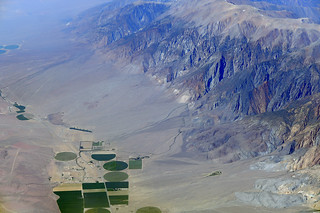 Aerial view of Hammill Valley and the White Mountains, Mono County, California