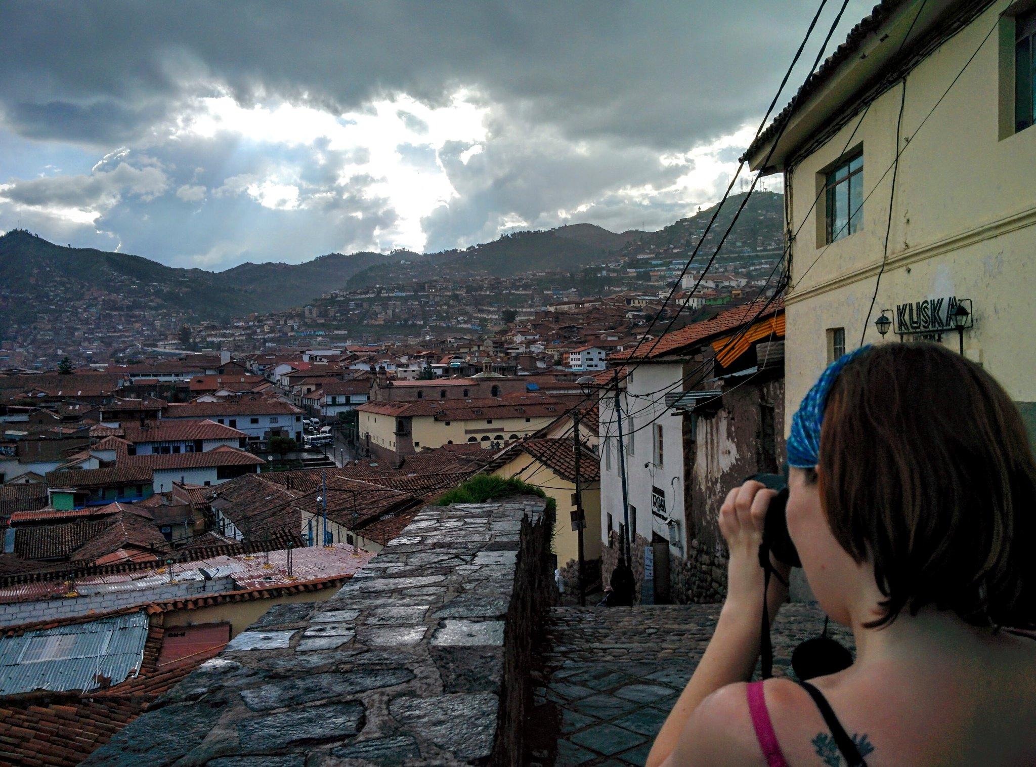Rachel photographing Cusco