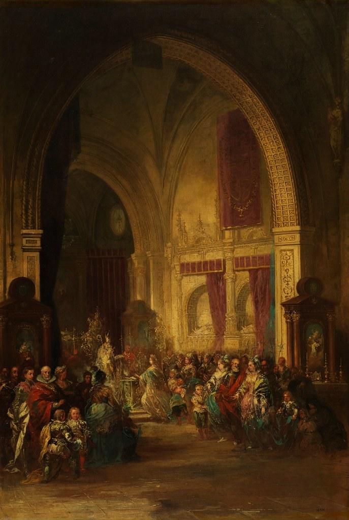 Eugenio Lucas Velázquez - Ceremonia en la Capilla de los Reyes Nuevos de la catedral de Toledo