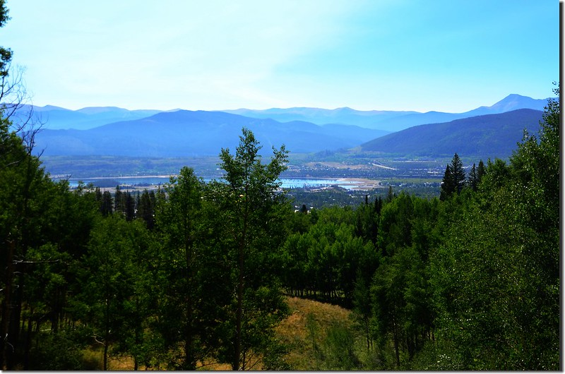 Looking down Dillon Reservoir & Frisco City from Meadow Creek Trail
