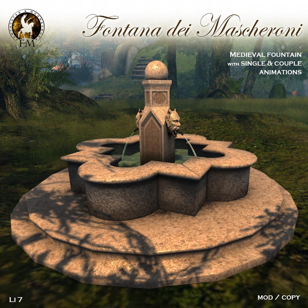 F&M * Fontana dei Mascheroni * Medieval Fountain - TeleportHub.com Live!