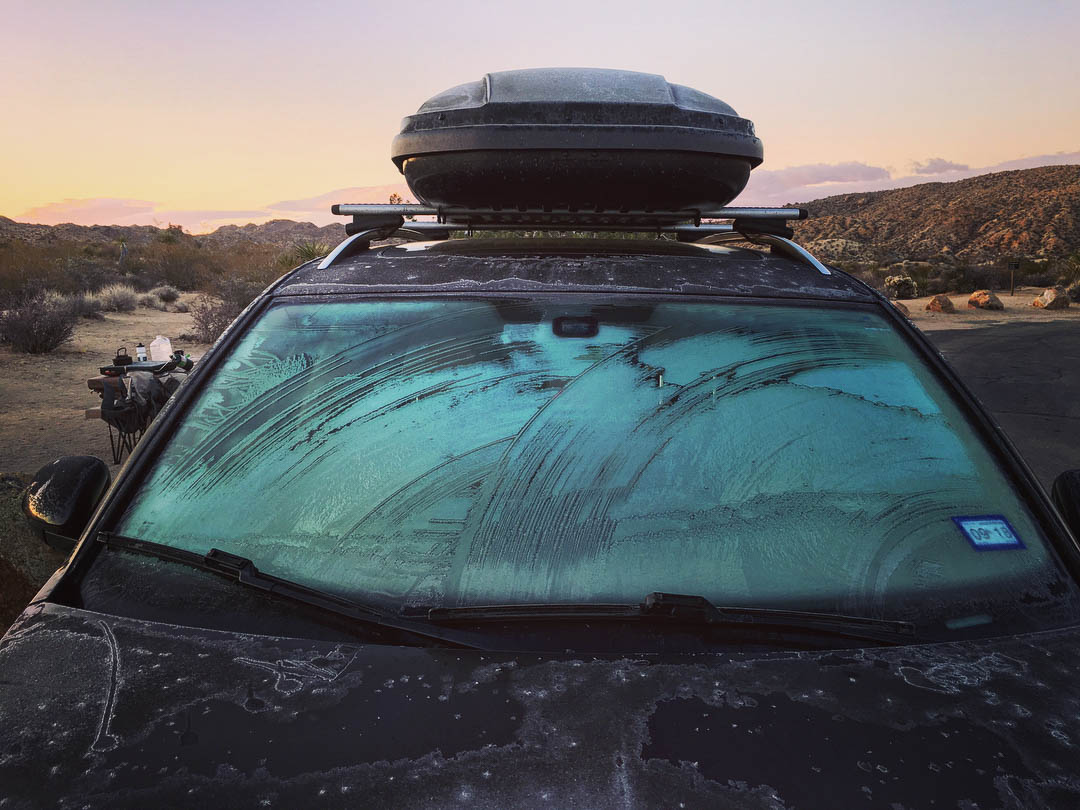 Frosty windscreen in Joshua Tree National Park