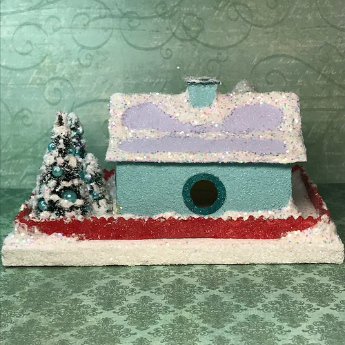Teal and Lilac Putz house
