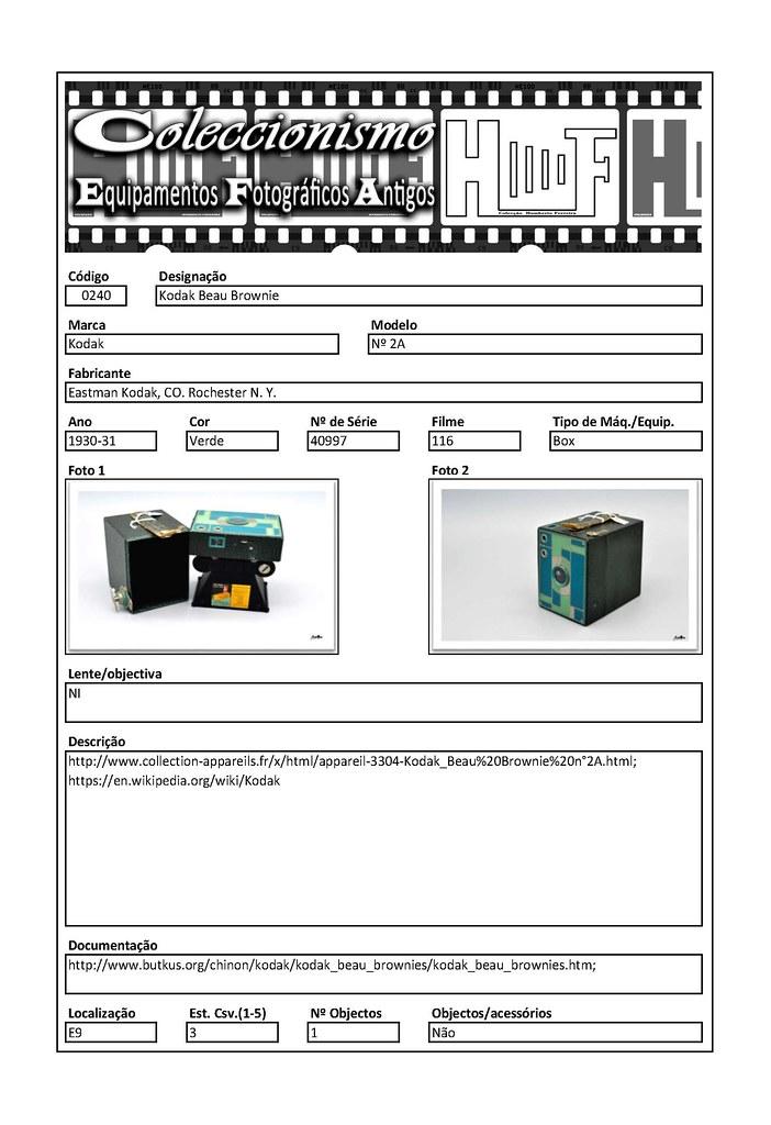 Inventariação da colecção_0240 Kodak Beau Brownie nº 2A Green