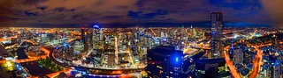 Melbourne skyline at night: view of CBD and Eureka tower from Prima Pearl, Southbank, Victoria, Australia
