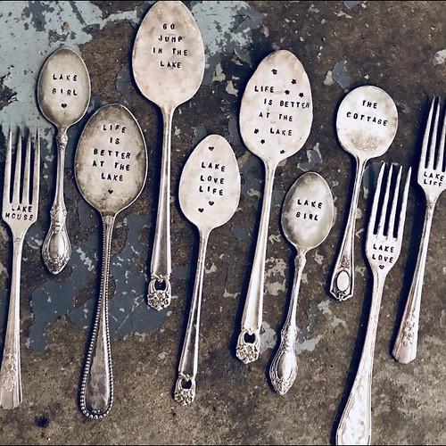 Hammered and hand stamped silverware. Artist Bridget Fox