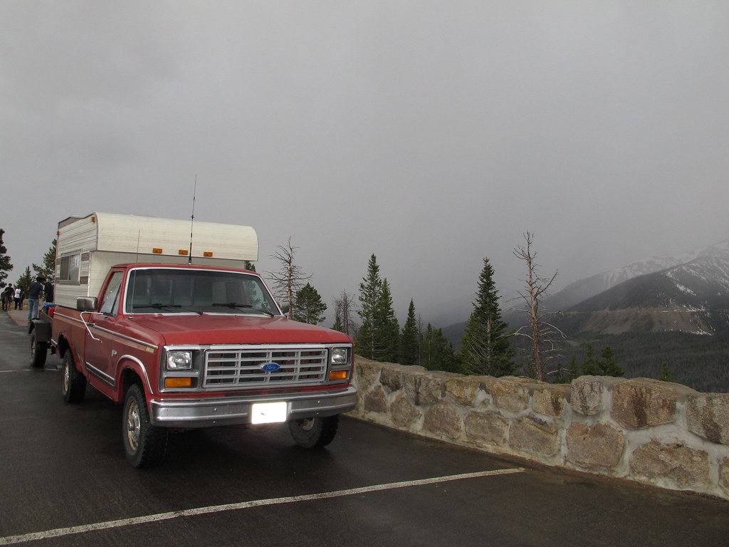 The tRusty truck parked along Trail Ridge Road, CO.