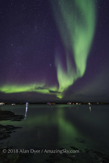Aurora over Houseboats on Yellowknife Bay
