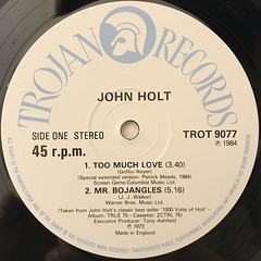 JOHN HOLT:TOO MUCH LOVE(LABEL SIDE-A)