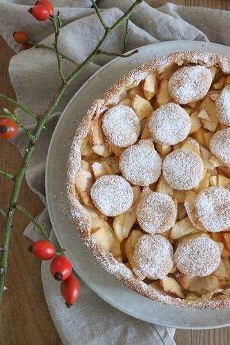 Apfelkuchen und Hagebutten