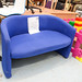2 seater blue fabric chair E135