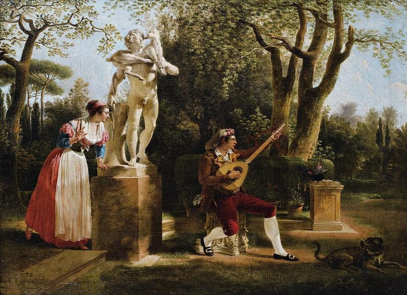 Jacques-Henri Sablet - Elégante écoutant onu joueur de guitare dans onu parc une Rome